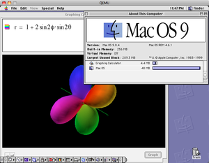Mac OS 9 with Graphing Calculator running