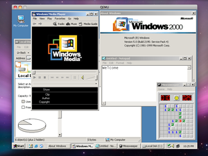 Windows 2000 with several applications open